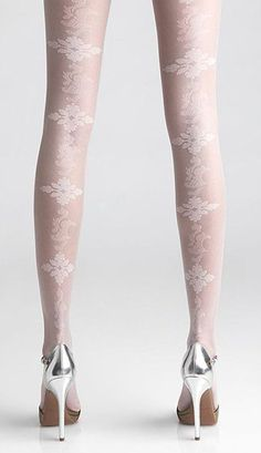 Ivory Lace Back-Seam Tights