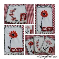 Alter cheap little notepads by adding a little needlework cover. www.songbirdblog.com