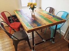 Pallet Dining Table with Metal Legs