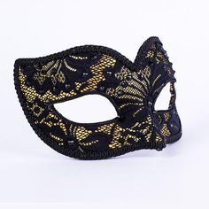 Lacy Gold-Designed in Italy! vivomasks.com Lace Masquerade Masks, Peek A Boos, Black Crystals, Black Satin, Feminine, Italy, Elegant, Pretty, How To Wear