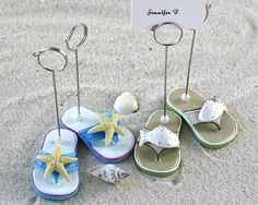 Lilies Collections - Sea Shell Flip Flop Placecard Holders - Set of 4 (2 pairs) $7.95 - Beach Wedding Favors -www.liliescollections.com