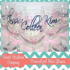 ********************** IMPORTANT ***********************    BE SURE TO CHECK OUR SHOP ANNOUNCEMENT FOUND UNDER THE BANNER ON OUR MAIN STORE PAGE BEFORE PLACING YOUR ORDER.    https://www.etsy.com/shop/SweetSouthernCompany  __________________________________________________________________________    An adorable way to say I Do! and the perfect gift for your bridesmaids.    These elegant 20 oz. wine glasses feature your script name and bold title as well as date on the base in your choice of…
