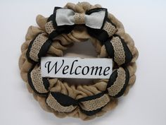 Burlap Welcome Wreath, Burlap Welcom Sign, Front Door Wreath, Country Burlap, Large Black and Gray Burlap Bow, Burlap Wreath for the Home by BeautifulHomeAccents on Etsy