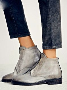 Free People AS98 gray distressed leather zipper Booties Boots 37 /6-6.5 $275 #AS98 #zipperankleboots #Casual