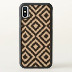 Retro Black White Ikat Diamond Squares Pattern iPhone X Case - chic design idea diy elegant beautiful stylish modern exclusive trendy
