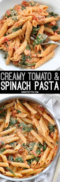 Easier than a box meal, this creamy tomato & spinach pasta is also more flavorful and delicious. 100% real ingredients. http://BudgetBytes.com