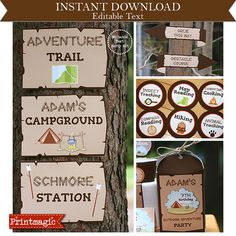 Outdoor Adventure Party Camping Party Invitations &