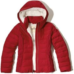 Hollister Sherpa Lined Puffer Jacket (90 330 LBP) ❤ liked on Polyvore featuring outerwear, jackets, red, red jacket, red puffy jacket, faux-leather jacket, logo jackets and puffy jacket