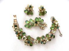 Juliana D&E Rhinestone Bracelet, Brooch and Earrings Parure Yellow Jonquil Peridot Green Jewelry Set Vintage