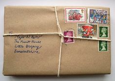 Wrap a gift like a package! SO cute. Love those vintage stamps. #wrap #package