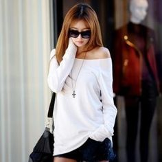 Cute off the shoulder shirt.