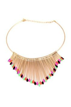 REGISTER ON PERSUNMALL.COM Golden Necklace with Colorful Matchsticks Tassels