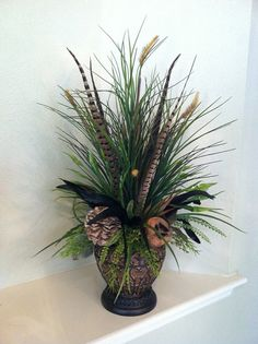 Natural Tall Grass Arrangement with Dried Pods & Feathers - Silk Floral Arrangement with Feathers by Greatwood Floral Designs.