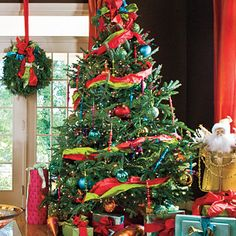 Bold and Bright Christmas Tree - - Visit http://www.southernliving.com/holiday-home for more Christmas decorating ideas