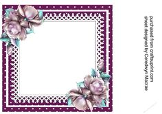 Incert Blank with lilac roses   Craftsuprint