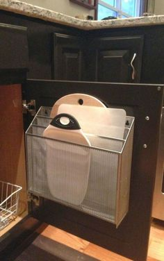 File Organizer Used As Kitchen Cutting Board Storage | Home Decor