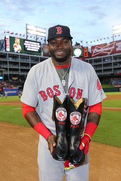 "The Texas Rangers presented retiring Red Sox slugger, David Ortiz, aka ""BIG PAPI,"" with a pair of custom Lucchese boots and a custom, Clint Orms engraved belt buckle. Lucchese (@Lucchese1883) 