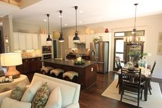open floor plan idea by nancyewilliams Kitchen Redo, Living Room Kitchen, New Kitchen, Kitchen Remodel, Kitchen Ideas, Kitchen Layout, Kitchen Island, Dining Room, Style At Home