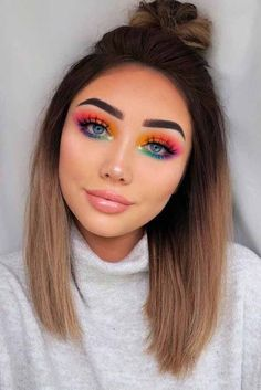 See our collection of top knot hairstyles to look stunning with little effort. B… See our collection of top knot hairstyles to look stunning with little effort. B…,Makeup See our collection of top knot. Rainbow Eye Makeup, Bright Eye Makeup, Makeup Eye Looks, Eye Makeup Art, Colorful Eye Makeup, Cute Makeup, Perfect Makeup, Eyeshadow Makeup, Amazing Makeup