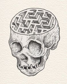 Eugene Plotnikov - would be a great tattoo idea, with various things inside the skull