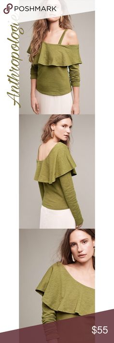 ✨Asymmetrical Ruffle Top✨ ✨Cotton Asymmetrical top hem detail Pullover styling Machine wash Imported✨ Anthropologie Tops Tees - Long Sleeve