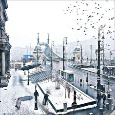 The Liberty Bridge (Szabadság híd) in Budapest, Hungary on a snowy day. Montenegro, Budapest Winter, Places To Travel, Places To See, Capital Of Hungary, Great Buildings And Structures, Modern Buildings, Modern Architecture, Hungary Travel