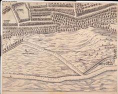 Paseo por el Lago de la Casa de Campo  Fragmento del Plano de Texeira (1656) en el que se aprecian la casa de la nieve y algunos de los lagos primitivos