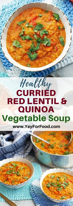Hearty and delicious! This easy soup is loaded with healthy protein and fiber-rich ingredients! It's #vegan and gluten-free too. #glutenfreerecipes | #soup | #vegetarianrecipes | #souprecipes | #quinoa | #lentils | #glutenfree | #easyrecipes
