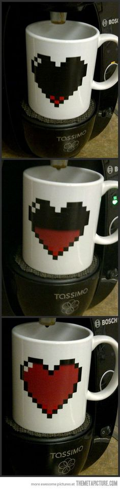 I really don't need another mug....except this one.  The heart container fills up as the coffee cup empties.: