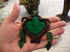 """Forest Amulet"" Polymer clay pendant charm Jewelry by LynzCraftz"