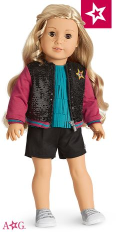 crafts Tenney likes to combine these four separates to make a fun outfit she can wear on tour! This bundle features Tenney's Fringe Top, Tenney's Tour Jacket, Tenney's Tour Shorts, and Tenney's Sparkly Sneakers. All American Girl Dolls, Ropa American Girl, American Doll Clothes, Ag Doll Clothes, American Girl Accessories, Doll Accessories, Bitty Baby Clothes, America Girl, Journey Girls