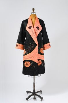 Quilted Silk Coat, 1924, Paris. Velveteen rose patches, fully lined in coral pink rayon.