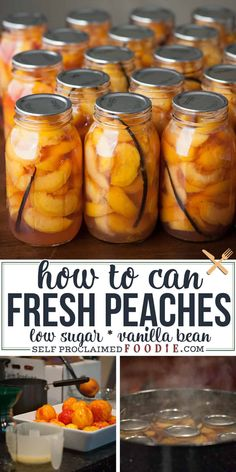 This is the easiest and best method to preserve and can fresh peaches using fresh organic peaches, a low sugar recipe, and a water bath canning process. #peaches #canning #howtocan #organic #lowsugar #recipe #cannedpeaches #vanillabean Can Peaches Recipes, Low Sugar Recipes, No Sugar Foods, Fruit Recipes, Summer Recipes, Nutella Recipes, Jelly Recipes, Healthy Recipes, Drink