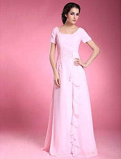 A-line Square Short Sleeve Floor-length Chiffon Mother of th... – EUR € 107.24