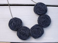 Chambray Rosette Necklace Bib Necklace Statement by SweetCamiJayne