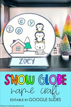 Enhance your winter curriculum with this fun snow globe name craft! This resource is editable in Google Slides and can be used in the classroom or during distance learning. It would be great for a bulletin board, for winter or holiday student pictures, or to send home with students. | Winter Crafts for Kids #MissMsReadingResources #Winter #SnowGlobe #Kindergarten #Prek #FirstGrade