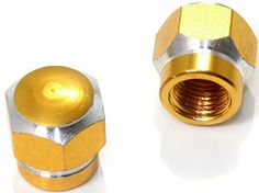 """Amazon.com : (2 Count) Cool and Custom """"Short Two Tone Hexagon with Easy Grip Shape"""" Tire Wheel Rim Air Valve Stem Dust Cap Seal Made of Genuine Anodized Aluminum Metal {Egyptian Hyundai Gold and Silver Colors - Hard Metal Internal Threads for Easy Application - Rust Proof - Fits For Most Cars, Trucks, SUV, RV, ATV, UTV, Motorcycle, Bicycles} : Sports & Outdoors"""