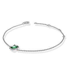 Pulseira de prata com cravação de zircônias brilhantes e zircônia central verde esmeralda