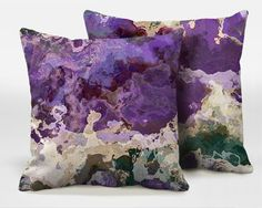A pair of decorative throw pillows with abstract art by ArtPillow, $80.00