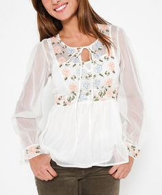 Another great find on #zulily! Tantra Cream Sheer Embroidered Keyhole Top - Women by Tantra #zulilyfinds