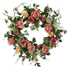 Cottage Rose Silk Floral Wreath
