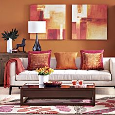 Paprika And Beige Living Room. This Exotic Shade Of Orange Adds A Touch Of  Bohemian Chic To This Living Room. Dark Accessories And Mango Wood Effect  ...