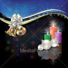 Abstract #Christmas Black Blue #Greeting Bells - Image LA112722 #Vector