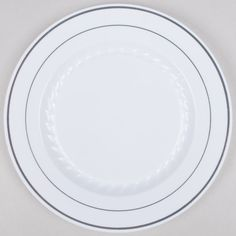 Fineline Silver Splendor 509-WH 9  White Customizable Plastic Plate with Silver Bands - 120/Case  sc 1 st  Pinterest & order one (100 small 6.25 in plates and 50 large plates) Daily Chef ...
