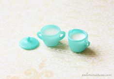 Miniature Turquoise Sugar Bowl and Milk Jar Set - Kitchen Accessories in 1/12 Scale