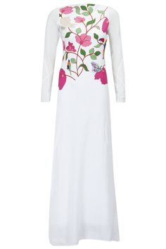 White bird embroidered floor length dress available only at Pernia's Pop-Up Shop.