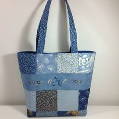 This is the second side of the tote I made with my friends initials machine embroidered on it.