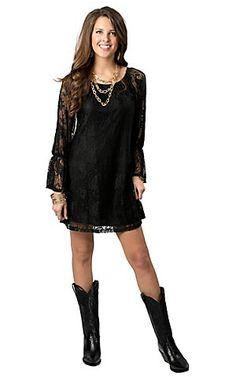 Jody Women's Brown Lace 3/4 Bell Sleeve Dress | Sleeve, Le'veon ...