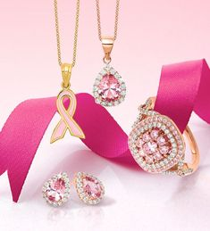 Think Pink! Support breast cancer awareness month by wearing your favorite pink styles! #QualityGold #PinkRibbon #BreastCancerAwareness #JewelryforaCause #AwarenessRibbons #PinkJewelryStyles #BreastCancerAwarenessMonth