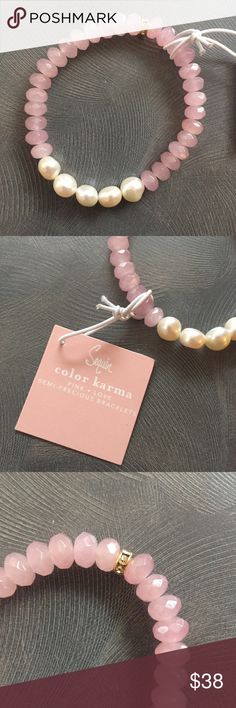 "NWT Sequin Color Karma Love Bracelet w/Pearls BRAND NEW W/TAGS STILL ON! Beautiful Sequin Color Karma Collection light pink semi-previous stones and pearl bracelet with gold charm embellished with crystals. ""Light Pink is a color of harmony & emotional balance. Symbolizing universal love at its highest level, this color is creativity inspired by beauty."" Bracelet is stretchy and easy to get on/off wrist. Gorgeous piece! Great Gift! Anthropologie Jewelry Bracelets"